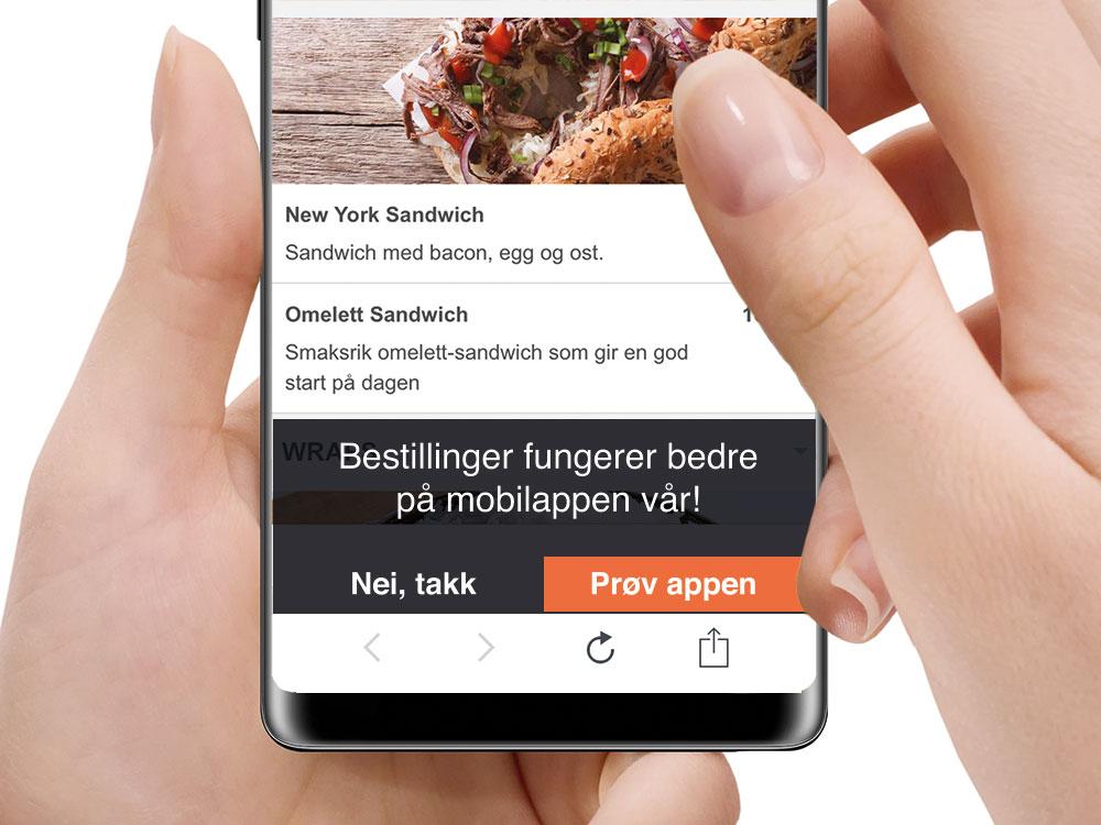 Skjermdump av ordresystem med app