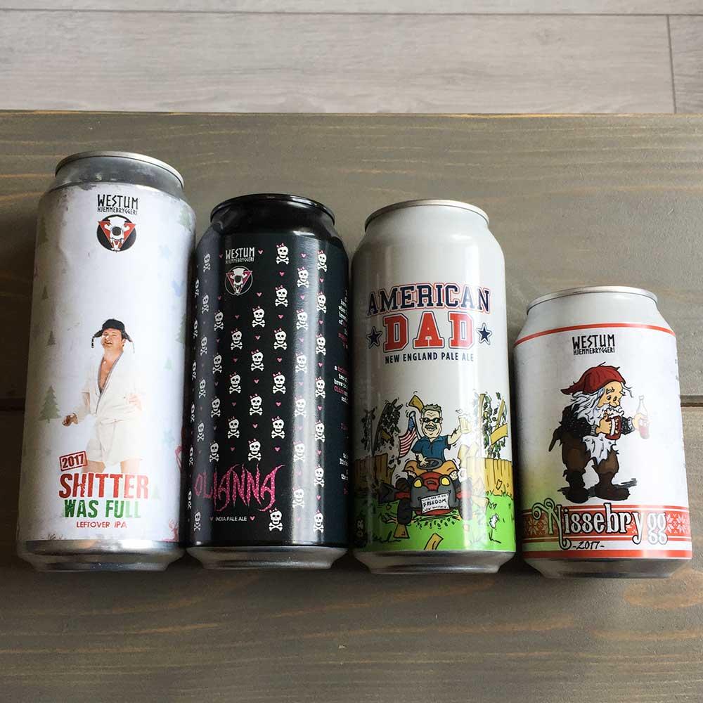 Øletiketter på bokser i forskjellige størrelse
