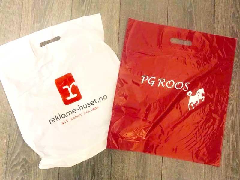Handleposer i plast med logotrykk