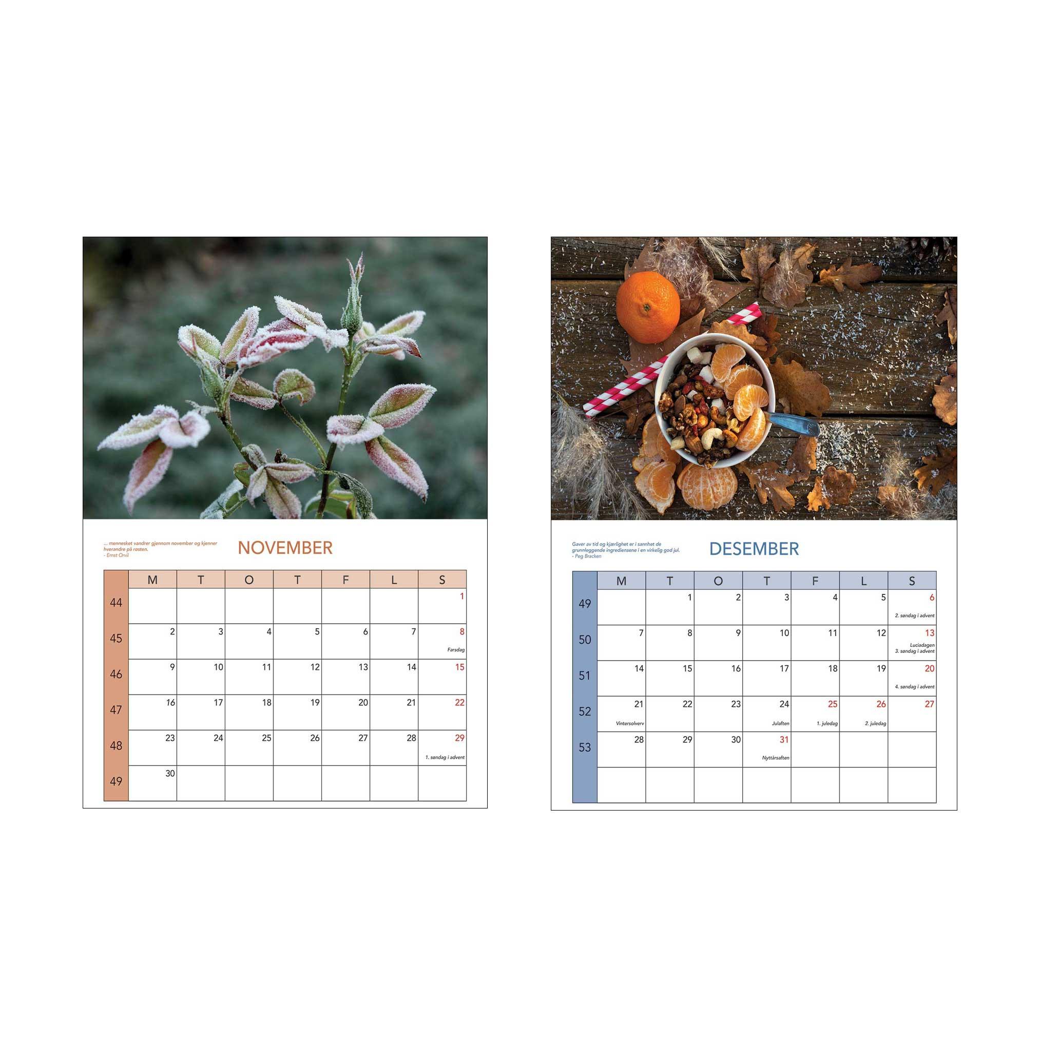 Kalender november og desember
