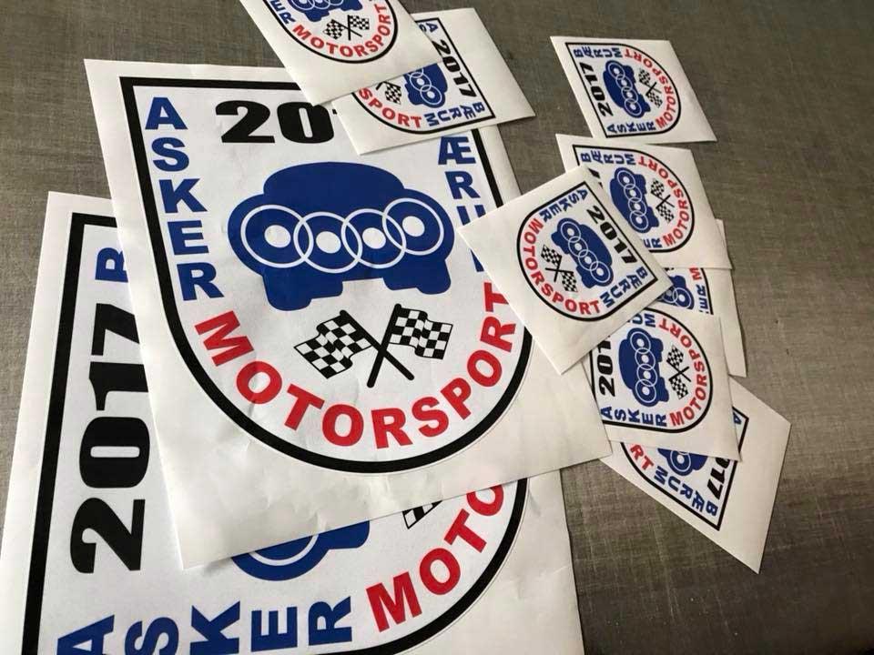 Konturskåret klebemerker til Asker Motorsport