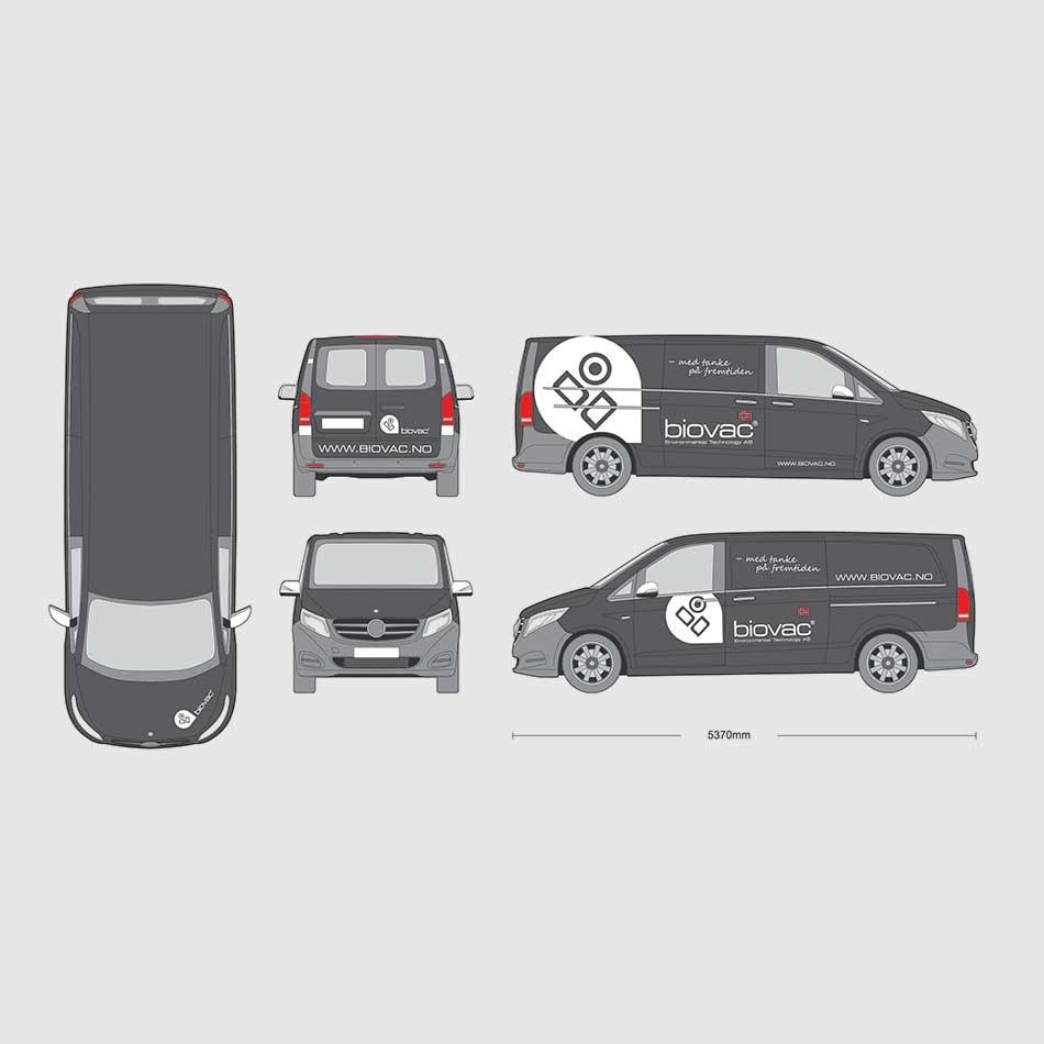 Eksempel på del- og helfoliering av bil